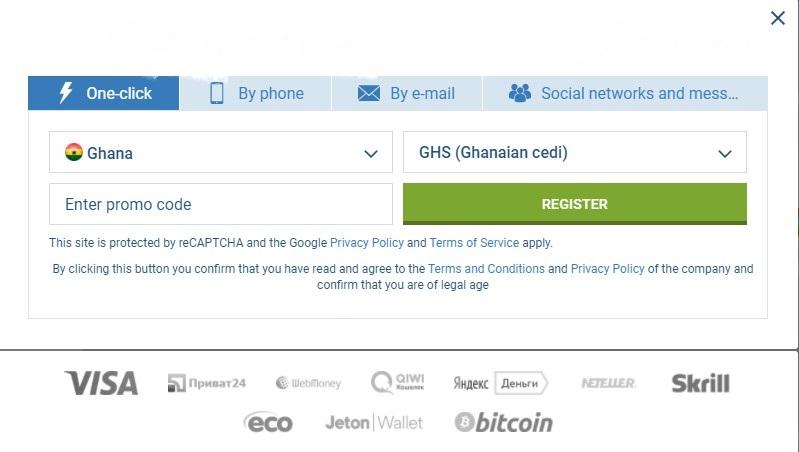 1xBet registration Ghana
